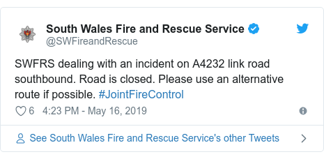 Twitter post by @SWFireandRescue: SWFRS dealing with an incident on A4232 link road southbound. Road is closed. Please use an alternative route if possible. #JointFireControl