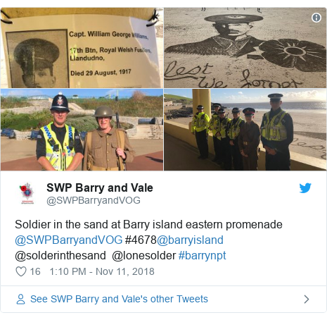 Twitter post by @SWPBarryandVOG: Soldier in the sand at Barry island eastern promenade @SWPBarryandVOG #4678@barryisland @solderinthesand  @lonesolder #barrynpt