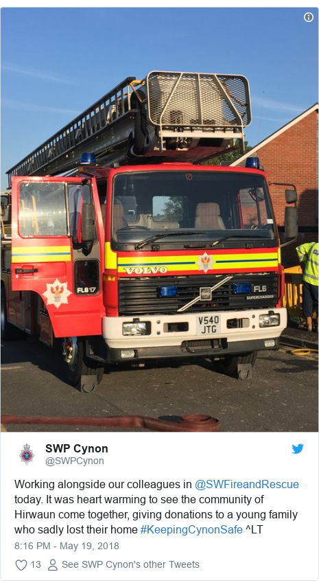 Twitter post by @SWPCynon: Working alongside our colleagues in @SWFireandRescue today. It was heart warming to see the community of Hirwaun come together, giving donations to a young family who sadly lost their home #KeepingCynonSafe ^LT