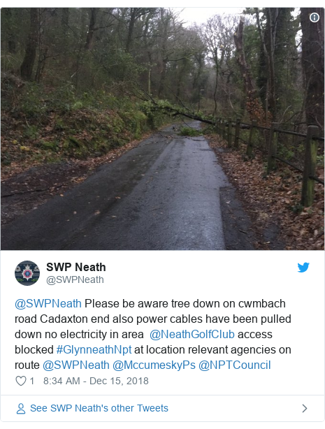 Twitter post by @SWPNeath: @SWPNeath Please be aware tree down on cwmbach road Cadaxton end also power cables have been pulled down no electricity in area  @NeathGolfClub access blocked #GlynneathNpt at location relevant agencies on route @SWPNeath @MccumeskyPs @NPTCouncil