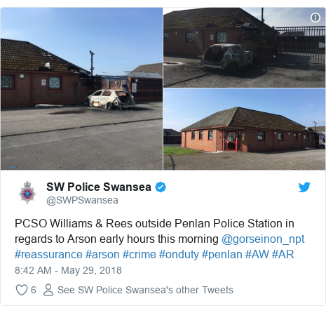 Twitter post by @SWPSwansea: PCSO Williams & Rees outside Penlan Police Station in regards to Arson early hours this morning @gorseinon_npt #reassurance #arson #crime #onduty #penlan #AW #AR