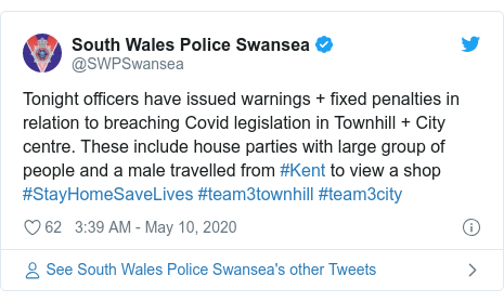 Twitter post by @SWPSwansea: Tonight officers have issued warnings + fixed penalties in relation to breaching Covid legislation in Townhill + City centre. These include house parties with large group of people and a male travelled from #Kent to view a shop #StayHomeSaveLives #team3townhill #team3city