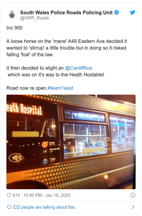 Twitter post by @SWP_Roads: Inc 900A loose horse on the 'mane' A48 Eastern Ave decided it wanted to 'stirrup' a little trouble but in doing so it risked falling 'foal' of the law.It then decided to alight an @Cardiffbus which was on it's way to the Heath Hostable!Road now re open.#team1east