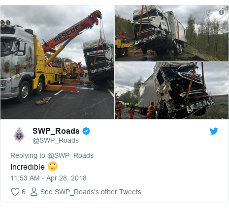 Twitter post by @SWP_Roads: Incredible 🙄