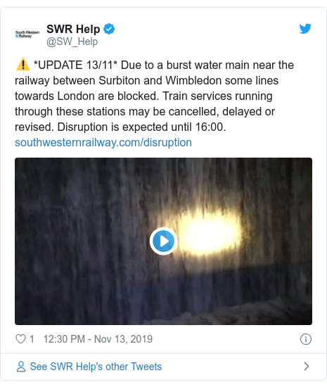 Twitter post by @SW_Help: ⚠️ *UPDATE 13/11* Due to a burst water main near the railway between Surbiton and Wimbledon some lines towards London are blocked. Train services running through these stations may be cancelled, delayed or revised. Disruption is expected until 16 00.
