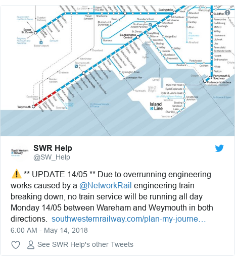 Twitter post by @SW_Help: ⚠️ ** UPDATE 14/05 ** Due to overrunning engineering works caused by a @NetworkRail engineering train breaking down, no train service will be running all day Monday 14/05 between Wareham and Weymouth in both directions.