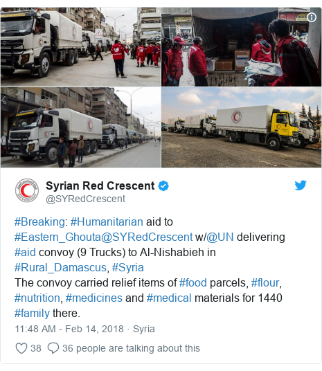 Twitter post by @SYRedCrescent: #Breaking  #Humanitarian aid to #Eastern_Ghouta@SYRedCrescent w/@UN delivering #aid convoy (9 Trucks) to Al-Nishabieh in #Rural_Damascus, #SyriaThe convoy carried relief items of #food parcels, #flour, #nutrition, #medicines and #medical materials for 1440 #family there.