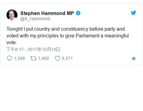 Twitter 用户名 @S_Hammond: Tonight I put country and constituency before party and voted with my principles to give Parliament a meaningful vote.