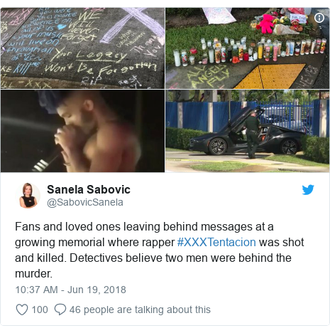 Twitter post by @SabovicSanela: Fans and loved ones leaving behind messages at a growing memorial where rapper #XXXTentacion was shot and killed. Detectives believe two men were behind the murder.