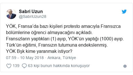 @SabriUzun28 tarafından yapılan Twitter paylaşımı: YÖK, Fransa'da bazı kişileri protesto amacıyla Fransızca bölümlerine öğrenci almayacağını açıkladı.Fransızların yaptıkları (1) ayıp, YÖK'ün yaptığı (1000) ayıp.Türk'ün eğitimi, Fransızın tutumuna endekslenmiş.YÖK Bşk kime yaranmak istiyor?