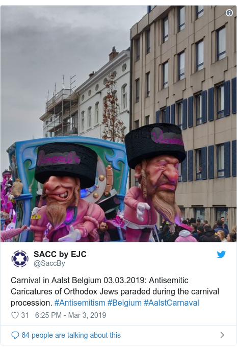 Twitter post by @SaccBy: Carnival in Aalst Belgium 03.03.2019  Antisemitic Caricatures of Orthodox Jews paraded during the carnival procession. #Antisemitism #Belgium #AalstCarnaval