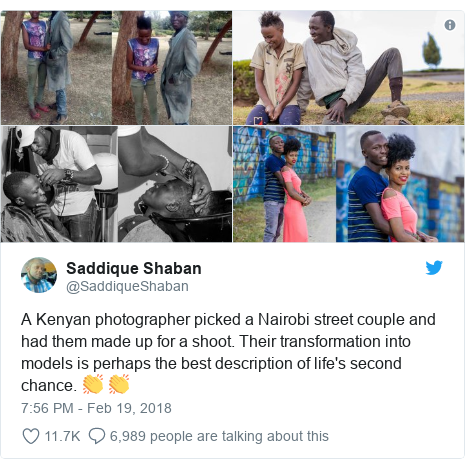 Ujumbe wa Twitter wa @SaddiqueShaban: A Kenyan photographer picked a Nairobi street couple and had them made up for a shoot. Their transformation into models is perhaps the best description of life's second chance. 👏 👏