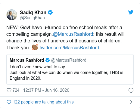 Twitter post by @SadiqKhan: NEW  Govt have u-turned on free school meals after a compelling campaign.@MarcusRashford  this result will change the lives of hundreds of thousands of children. Thank you. 👏🏾