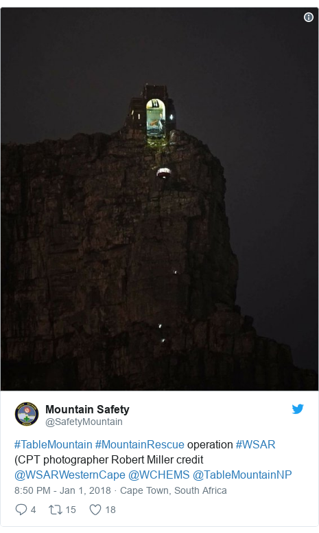 Twitter post by @SafetyMountain: #TableMountain #MountainRescue operation  #WSAR (CPT photographer Robert Miller credit @WSARWesternCape @WCHEMS @TableMountainNP