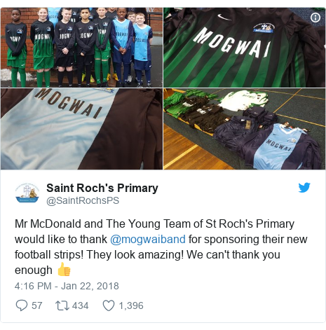 Twitter post by @SaintRochsPS: Mr McDonald and The Young Team of St Roch's Primary would like to thank @mogwaiband for sponsoring their new football strips! They look amazing! We can't thank you enough 👍