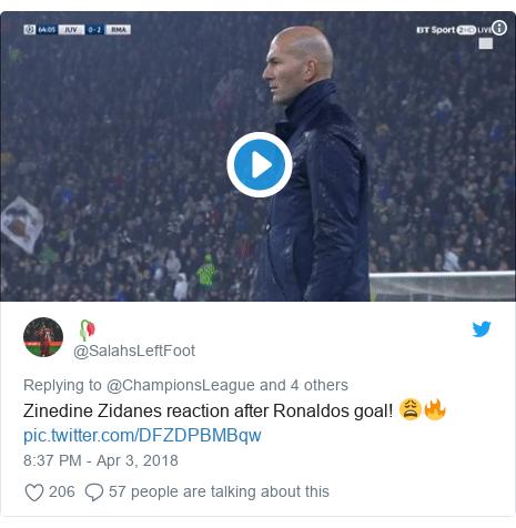 Twitter post by @SalahsLeftFoot: Zinedine Zidanes reaction after Ronaldos goal! 😩🔥