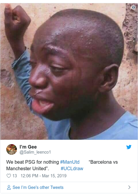 """Twitter post by @Salim_leenco1: We beat PSG for nothing #ManUtd       """"Barcelona vs Manchester United"""".         #UCLdraw"""