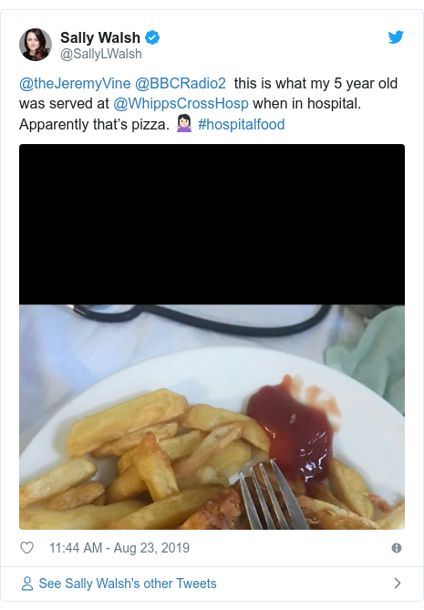 Twitter post by @SallyLWalsh: @theJeremyVine @BBCRadio2  this is what my 5 year old was served at @WhippsCrossHosp when in hospital. Apparently that's pizza. 🤷🏻♀️ #hospitalfood