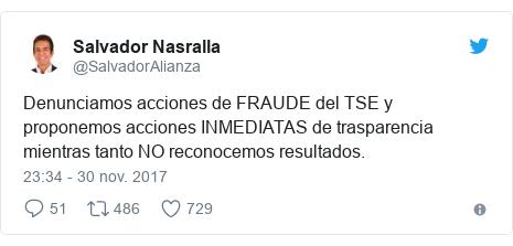Publicación de Twitter por @SalvadorAlianza: Denunciamos acciones de FRAUDE del TSE y proponemos acciones INMEDIATAS  de trasparencia mientras tanto NO reconocemos resultados.