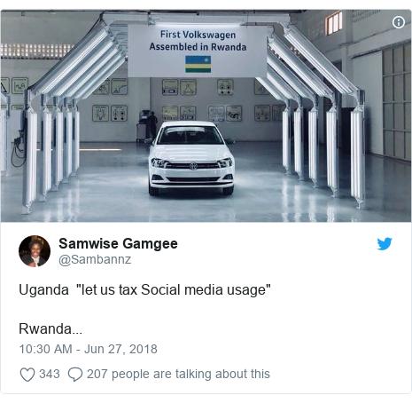 "Ujumbe wa Twitter wa @Sambannz: Uganda  ""let us tax Social media usage""Rwanda..."