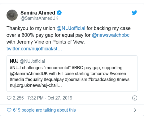 Twitter post by @SamiraAhmedUK: Thankyou to my union @NUJofficial for backing my case over a 600% pay gap for equal pay for @newswatchbbc with Jeremy Vine on Points of View.