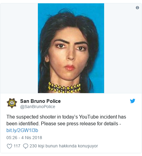 @SanBrunoPolice tarafından yapılan Twitter paylaşımı: The suspected shooter in today's YouTube incident has been identified. Please see press release for details -