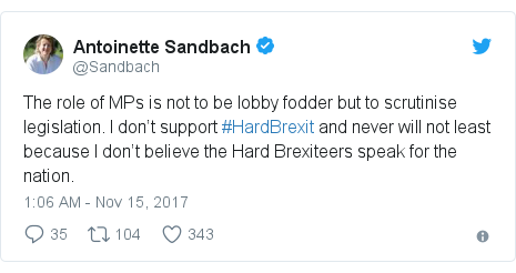 Twitter post by @Sandbach: The role of MPs is not to be lobby fodder but to scrutinise legislation. I don't support #HardBrexit and never will not least because I don't believe the Hard Brexiteers speak for the nation.