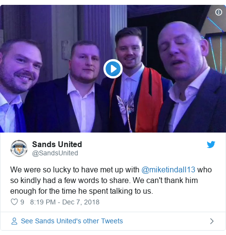 Twitter post by @SandsUnited: We were so lucky to have met up with @miketindall13 who so kindly had a few words to share. We can't thank him enough for the time he spent talking to us.