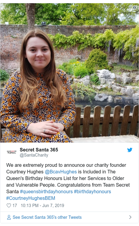 Twitter post by @SantaCharity: We are extremely proud to announce our charity founder Courtney Hughes @BcavHughes is Included in The Queen's Birthday Honours List for her Services to Older and Vulnerable People. Congratulations from Team Secret Santa #queensbirthdayhonours #birthdayhonours #CourtneyHughesBEM