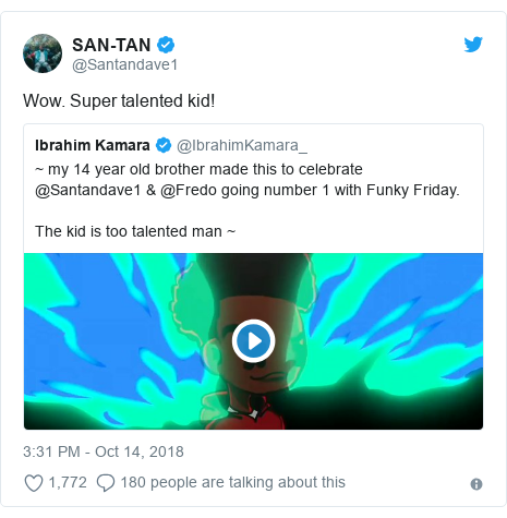 Twitter post by @Santandave1: Wow. Super talented kid!