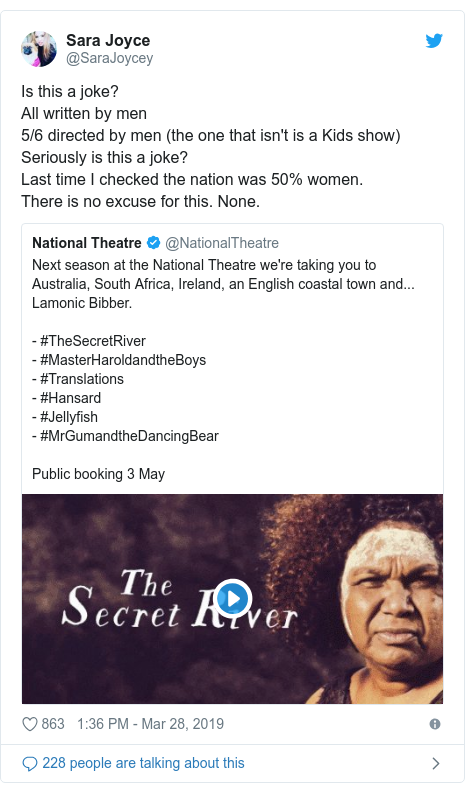 Twitter post by @SaraJoycey: Is this a joke?All written by men5/6 directed by men (the one that isn't is a Kids show)Seriously is this a joke?Last time I checked the nation was 50% women.There is no excuse for this. None.