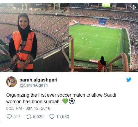Twitter post by @SarahAlgash: Organizing the first ever soccer match to allow Saudi women has been surreal!! 💚⚽️