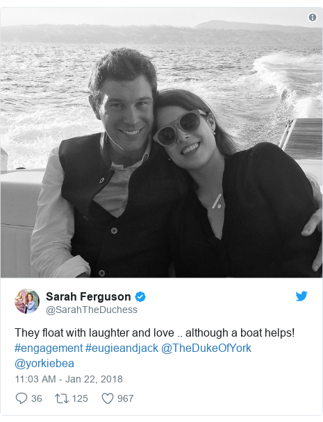 Twitter post by @SarahTheDuchess: They float with laughter and love .. although a boat helps! #engagement #eugieandjack @TheDukeOfYork @yorkiebea