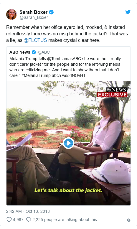 Twitter post by @Sarah_Boxer: Remember when her office eyerolled, mocked, & insisted relentlessly there was no msg behind the jacket? That was a lie, as @FLOTUS makes crystal clear here.