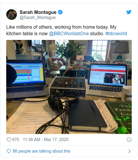 Twitter post by @Sarah_Montague: Like millions of others, working from home today. My kitchen table is now @BBCWorldatOne studio. #bbcworld