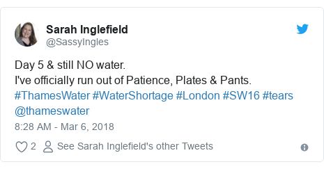 Twitter post by @SassyIngles: Day 5 & still NO water.I've officially run out of Patience, Plates & Pants. #ThamesWater #WaterShortage #London #SW16 #tears @thameswater