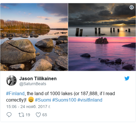 Twitter пост, автор: @SaturnBeats: #Finland, the land of 1000 lakes (or 187,888, if I read correctly)! 😄 #Suomi #Suomi100 #visitfinland