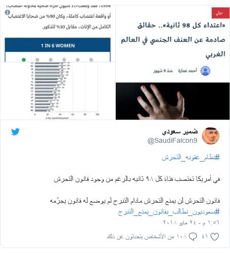 تويتر رسالة بعث بها @SaudiFalcon9: #نظام_عقوبه_التحرشفي أمريكا تغتصب فتاة كل ٩٨ ثانيه بالرغم من وجود قانون التحرش قانون التحرش لن يمنع التحرش مادام التبرج لم يوضع له قانون يجرّمه #سعوديون_نطالب_بقانون_يمنع_التبرج