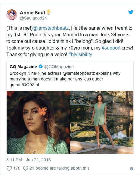 """Twitter post by @Saulgood24: (This is me!)@iamstephbeatz, I felt the same when I went to my 1st DC Pride this year. Married to a man, took 34 years to come out cause I didnt think I """"belong"""". So glad I did! Took my 5yro daughter & my 70yro mom, my #support crew! Thanks for giving us a voice! #bivisibility"""