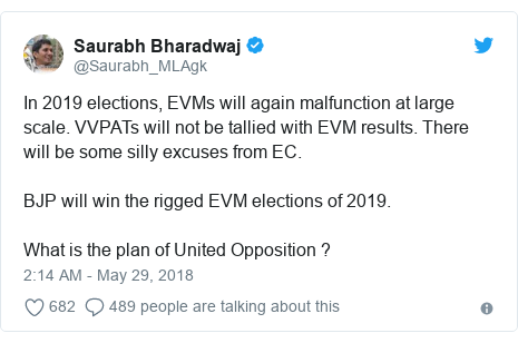 Twitter post by @Saurabh_MLAgk: In 2019 elections, EVMs will again malfunction at large scale. VVPATs will not be tallied with EVM results. There will be some silly excuses from EC.BJP will win the rigged EVM elections of 2019.What is the plan of United Opposition ?