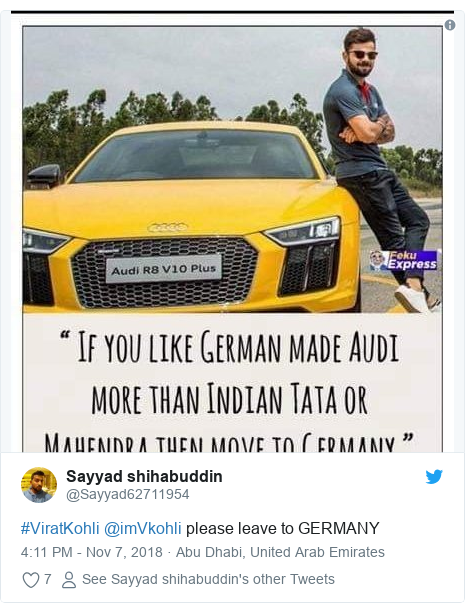 Twitter post by @Sayyad62711954: #ViratKohli @imVkohli please leave to GERMANY
