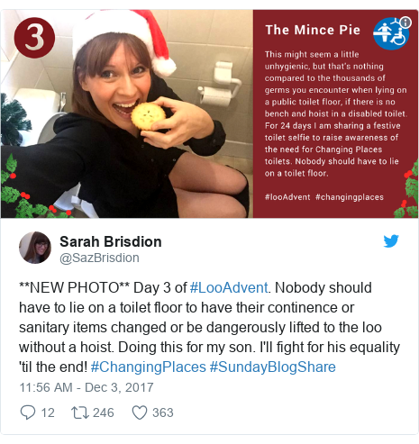 Twitter post by @SazBrisdion: **NEW PHOTO** Day 3 of #LooAdvent. Nobody should have to lie on a toilet floor to have their continence or sanitary items changed or be dangerously lifted to the loo without a hoist. Doing this for my son. I'll fight for his equality 'til the end! #ChangingPlaces #SundayBlogShare