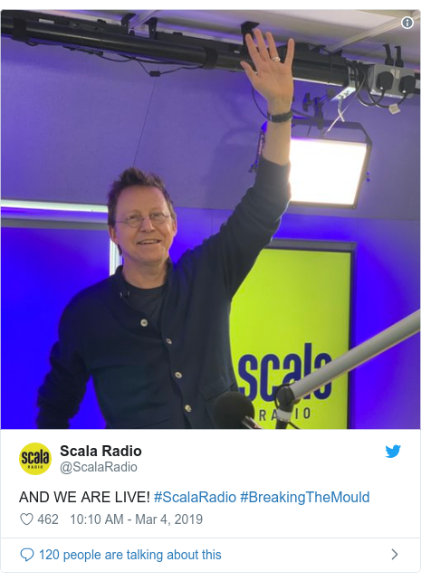 Twitter post by @ScalaRadio: AND WE ARE LIVE! #ScalaRadio #BreakingTheMould