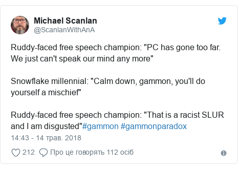 """Twitter допис, автор: @ScanlanWithAnA: Ruddy-faced free speech champion  """"PC has gone too far. We just can't speak our mind any more""""Snowflake millennial  """"Calm down, gammon, you'll do yourself a mischief""""Ruddy-faced free speech champion  """"That is a racist SLUR and I am disgusted""""#gammon #gammonparadox"""