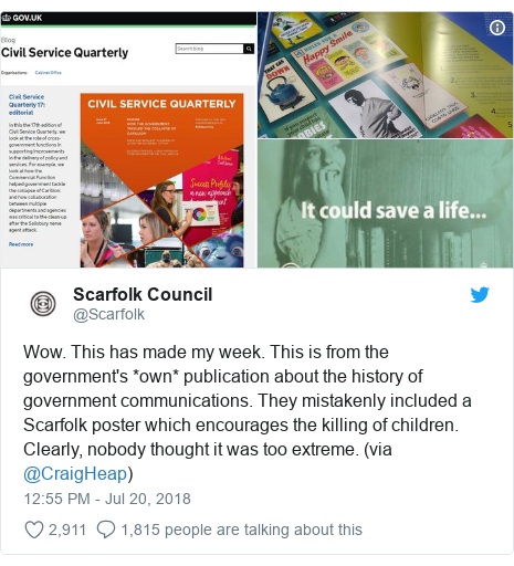 Twitter post by @Scarfolk: Wow. This has made my week. This is from the government's *own* publication about the history of government communications. They mistakenly included a Scarfolk poster which encourages the killing of children. Clearly, nobody thought it was too extreme. (via @CraigHeap)