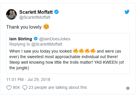 Twitter post by @ScarlettMoffatt: Thank you lovely ☺️