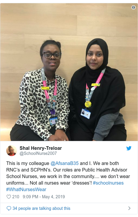 Twitter post by @SchoolNurse2007: This is my colleague @AfsanaB35 and I. We are both RNC's and SCPHN's. Our roles are Public Health Advisor School Nurses, we work in the community.... we don't wear uniforms... Not all nurses wear 'dresses'! #schoolnurses #WhatNursesWear