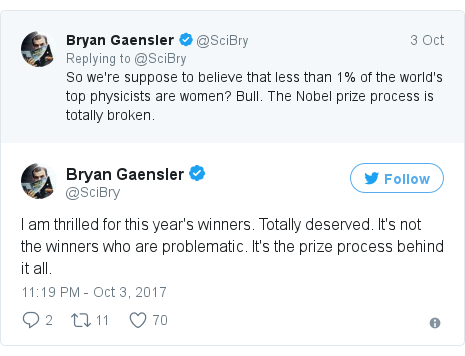 Twitter post by @SciBry: I am thrilled for this year's winners. Totally deserved. It's not the winners who are problematic. It's the prize process behind it all.