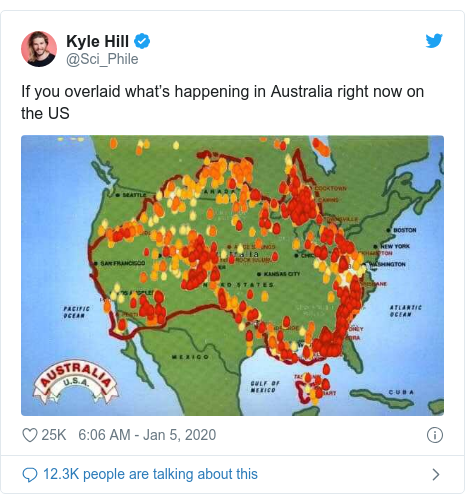 Twitter post by @Sci_Phile: If you overlaid what's happening in Australia right now on the US