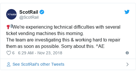 Twitter post by @ScotRail: 📢We're experiencing technical difficulties with several ticket vending machines this morning. The team are investigating this & working hard to repair them as soon as possible. Sorry about this. ^AE
